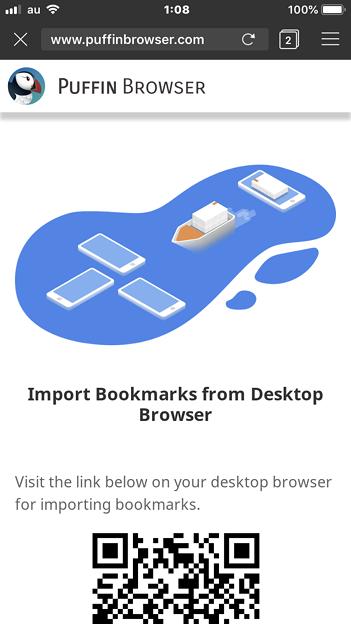 Puffin Browser 5.2.2 No - 22:ブックマークのインポート