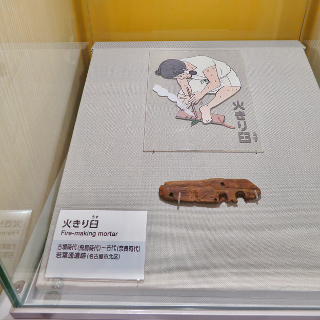 しだみ古墳群ミュージアム「SHIDAMU(しだみゅー)」展示室 No- 74:火起こしに用いられた「火きり臼」