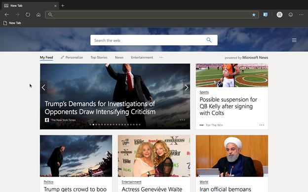Microsoft Edge for Mac(Canaryビルド 76.0.161.0)- 15:ホーム画面のニュースフィード