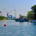 Photos: クルーズ名古屋(2019年5月)No - 12:ショベルカーが積まれた工事用の船