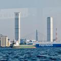 クルーズ名古屋(2019年5月)No - 155:船内から見た新名古屋火力発電所の塔と名港東大橋