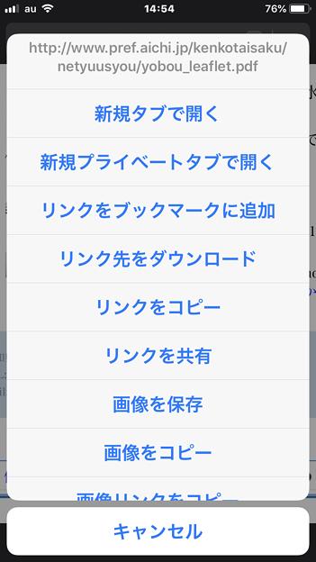 iOS版Firefox 17.3 No - 1:PDFリンクをロングタップ