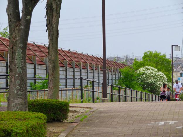 桃花台中央公園南側の中央道沿いの歩道半分ふさぐ無駄な柵 - 1