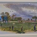 Photos: 名古屋市科学館「絶滅動物研究所」展 No - 40:空を覆うリョコウバトとそれを狩る人たちが描かれた絵
