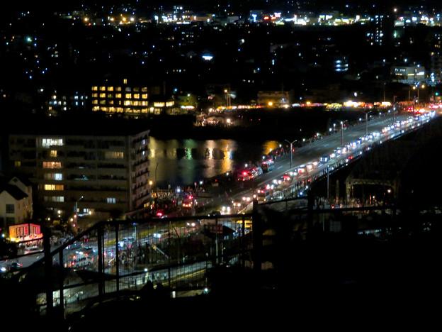 犬山成田山から見た夜景 - 10:日本ライン夏まつり納涼花火大会の日で混雑する犬山橋