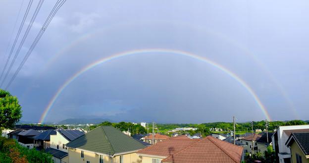 2重の虹が架かった、雨上がりの日(2019年8月14日) - 18:パノラマ