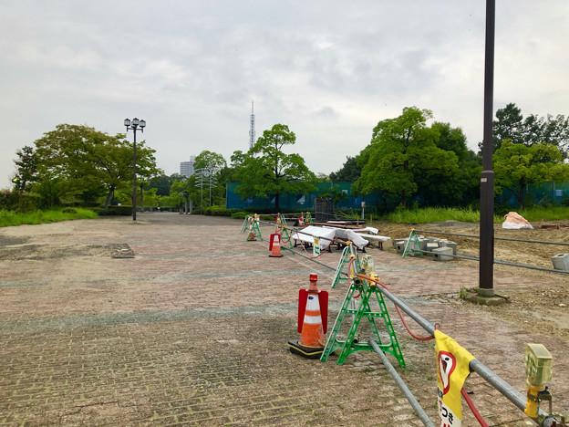桃花台線の桃花台中央公園撤去工事(2019年8月23日):工事部分のフェンスが大部分撤去 - 7