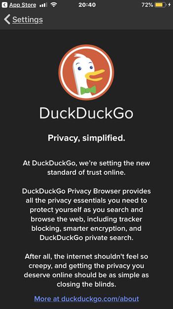 DuckDuckGo Privacy Browser 7.25.0 No - 10:About