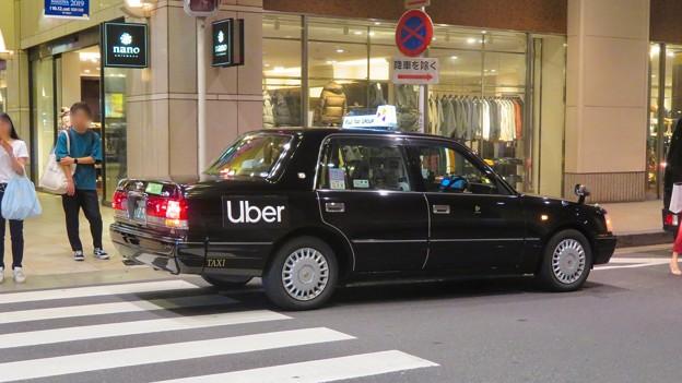 フジタクシーグループのタクシーに社会的有害企業「Uber」の文字 - 1