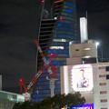 Photos: 巨大クレーンと夜で青く輝くスパイラルタワーズ - 1