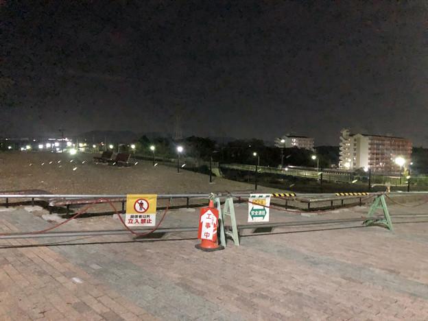 桃花台線の桃花台中央公園撤去工事(2019年9月11日):柵が設置 - 1