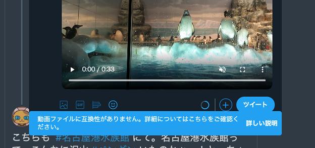 Twitter公式WEB:以前は問題なくアップできてたデジカメ撮影MP4動画がアップできず…