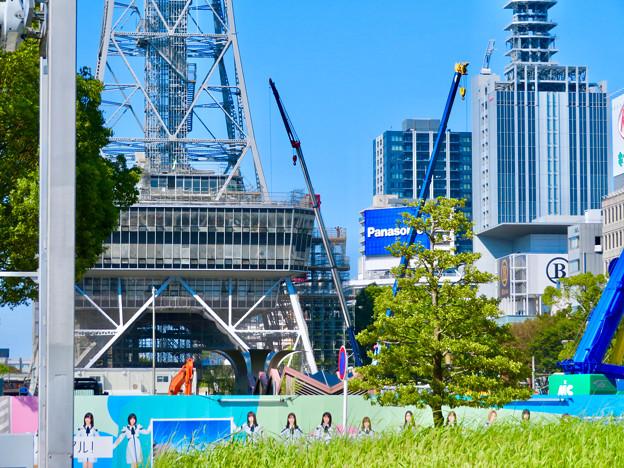 リニューアル工事中の久屋大通公園名古屋テレビ塔付近(2019年9月16日) - 2