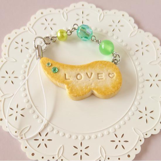 n001ストラップ/羽型クッキー&ビーズ/グリーン