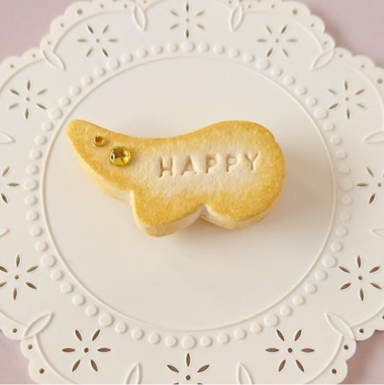 n008マグネット/羽型クッキー/イエロー