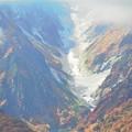 雪渓と紅葉
