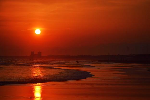 夕日と夕焼け空@湘南・鵠沼海岸 #湘南 #藤沢 #海 #波 #wave #surfing #mysky