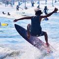 写真: 弱いオンショアの湘南・鵠沼海岸 #湘南 #藤沢 #海 #波 #wave #surfing #mysky #beach