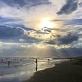 雲中の夕日@湘南・鵠沼海岸 #湘南 #藤沢 #海 #波 #wave #surfing #mysky #beach #shonan