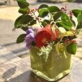 カフェのテーブルの花