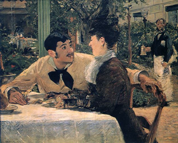 マネ-1879ラテュイルおやじの店で-トゥルネー美術館