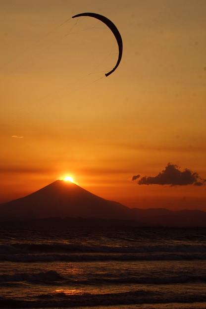 富士山とカイトサーフィン