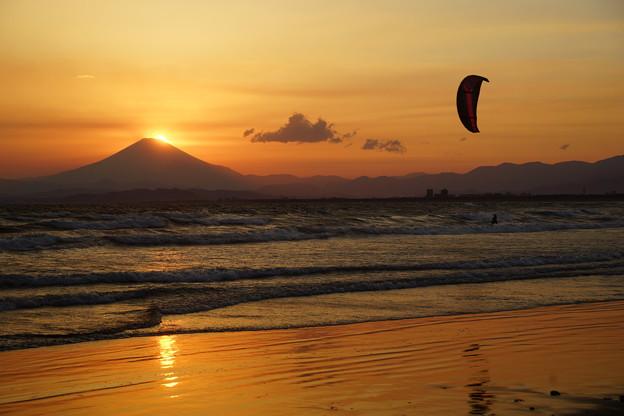 富士に落ちる夕日