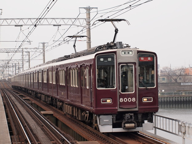 阪急8000系特急 阪急神戸線神崎川駅