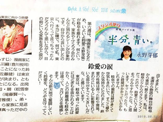 鈴愛の涙~半分、青い。永野芽郁~東京は岐阜で育った鈴愛にはどぎもを抜かれることばかり。人との距離感も岐阜とは違って、さびしさを痛感します。