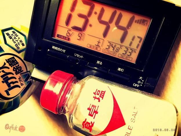 急激34.8℃_13:44 蒸し暑い熱中症頭痛がする危険な猛暑いきなり…慣れていない躰…塩を水に入れ飲む夏…ぬるい扇風機…サウナ状態…ファブリーズ飲んではならない我慢しNew振りかける