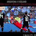 写真: Halldorsson's dream becomes reality [Iceland 1-1 Argentina] star Messi misses penalty.~FIFA2018World