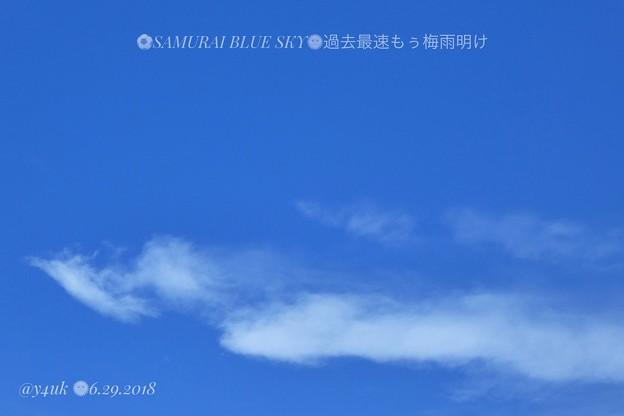 Photos: 12:17_6.29.2018もぅ梅雨明け史上最速 SAMURAI BLUE SKY 34℃(-。-;熱中症危険レベル連日連夜&少雨~夏の青空、雲。お昼に絞り優先73mmズームで~長い厳暑に熱中症警戒