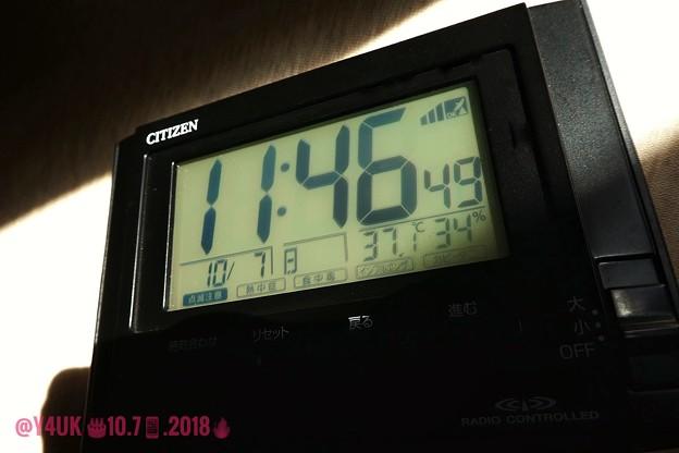 Photos: 37.1℃ 34% 11:46amまさかの10月に猛暑酷暑(~_~;)光と影のあいだ~季節外れの暑さ中~iPhone7Plus交換しMacも発熱接続リカバリー~10.7Plusお誕生日奇跡の酷暑&到着