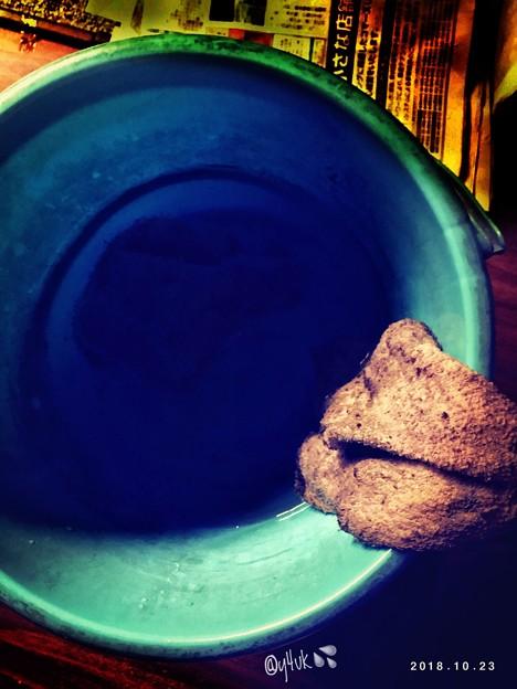 Photos: 14℃今季1番寒い中、バケツの水で雑巾で冷たい手で掃除(-o-;)冬支度のためストーブとか洗い中(アライチュウ)きれいな大事な水を上って運んできた→後、下って捨てに行くのだった…繰り返し