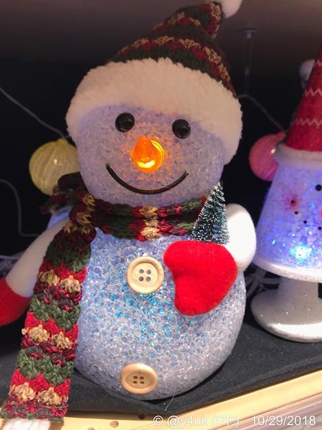 Photos: 17:57Night Snowman~お鼻腫れて寒い夜、手袋マフラーニット帽、自分が寝る時と同じ防寒( ´ ▽ ` )隠れてるの、だって寒いし寂しいから…と話し笑ってくれた。温かい人が好き。逃げよう!