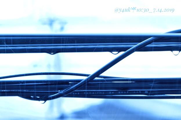 Photos: 10:30Cold Raindrop Cable大雨濡れ黒光り電線梅雨寒10旅後~風邪…頭フラ~過酷狂人家寝不足ストレス気温湿気(シャッター優先, 625mm, 1/20sec, WB電球:TZ85)
