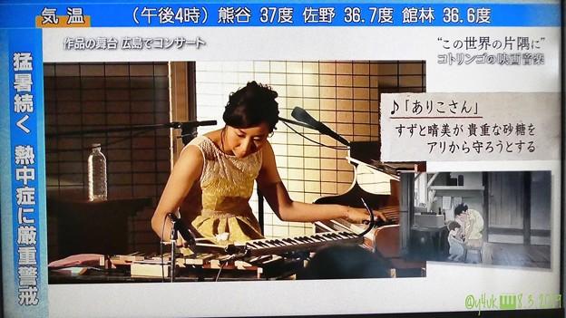 """NHK3連続の8.3その2.コトリンゴの映画音楽""""この世界の片隅に""""音楽担当♪作品の舞台広島でライヴ「ありこさん。すずと晴美が貴重な砂糖をアリから守ろうとする」逆L字:猛暑続く熱中症に厳重警戒37℃"""
