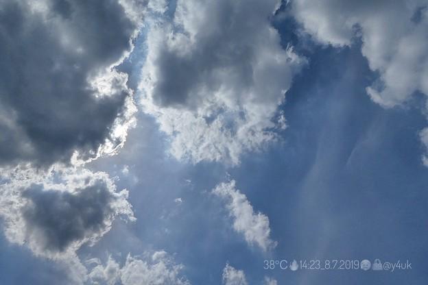 14:23_38℃の空。雲が太陽を遮ってくれ若干マシですが数秒で汗だく(~_~;)殺人猛暑の夏空「2019年#原爆の日」惚気夫婦より深刻死残虐火傷放射線原爆病狂人…夕方この後Go(絞り優先:TZ85)