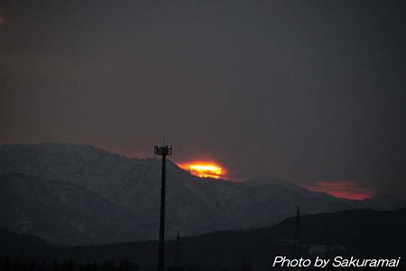 赤く燃えるような夕陽
