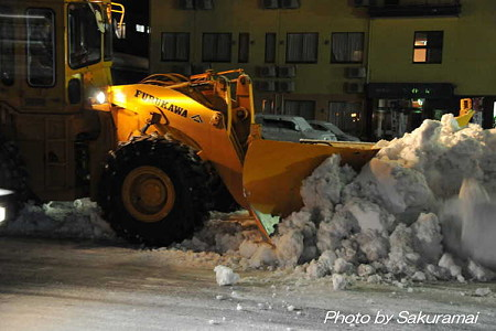 雪を押し付ける