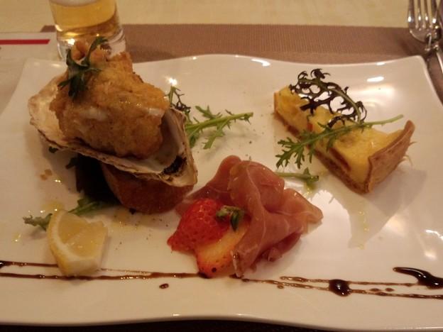 180221 002  カフェ・レオーネ 前菜カキフライ