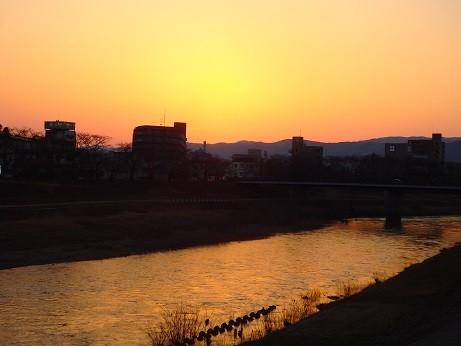 写真: 福井の夕日