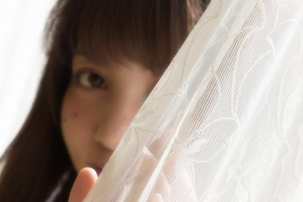 カーテンの奥の瞳