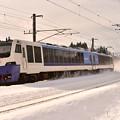 写真: 青い車体に白い雪2