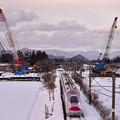 写真: 斉内川橋梁架け替え工事中2