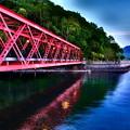 写真: 湖畔に映る橋上灯