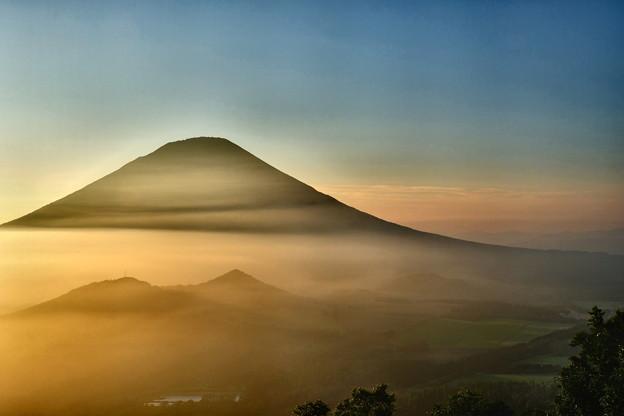 写真: 夕暮の雲海に浮かぶ羊蹄山 その1