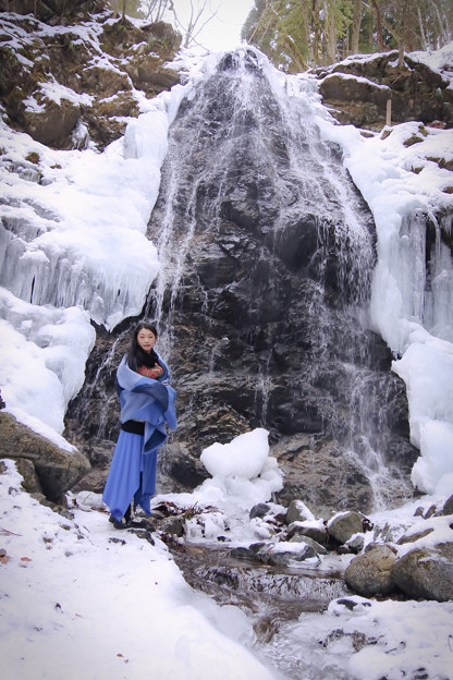 Part of the waterfall freezes