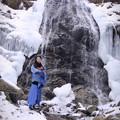 写真: Part of the waterfall freezes