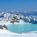 草津白根山の冬の湯釜